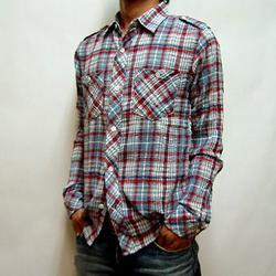BLUE BLUE ガーゼチェックL/Sシャツ